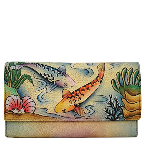 Anna By Anuschka, Handpainted Leather Checkbook Wallet/ Clutch,Koi Fish Wallet, Koi-Koi Fish, One Size