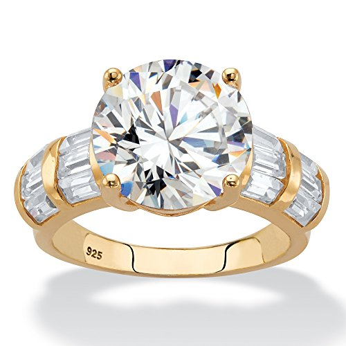 (18K Yellow Gold over Sterling Silver Round and Baguette Cubic Zirconia Engagement Ring Size 6)