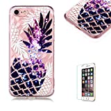 Funyye Crystal Rubber Case for iPhone 7,Luxury 3D Pineapple Pattern Slim Fit Flexible Soft Silicone Gel TPU Case for iPhone 8,Anti Scratch Durable Shell Bumper Back Protective Case for iPhone 7/8 4.7 inch + 1 x Free Screen Protector