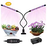 Indoor Grow Light,JEKOOMI 20W Auto Turn On/Off Timming Plant Grow Lamp with 40 LED Bulbs, 9 Dimmable Levels,Red Blue Full Spectrum,3/9/12H Timer,3 Switch Modes Review