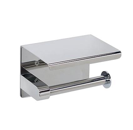 Rojeam A Porta rollos de papel higiénico de acero inoxidable con almacenamiento para teléfonos móviles (pegamento gratis)