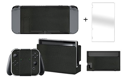 SIBIONO - Carbon Fiber Decals Stickers Full Set Faceplate Skins + Tempered Glass Screen Protector for Nintendo Switch Console & Joy-con Controller & Dock Protection Kit. (Black)
