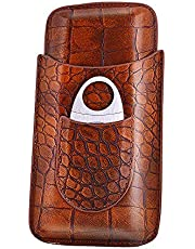 Classy Crocodile Pattern Leather Travel Cigar Case,3 Tube Travel Humidor, Portable Cigar case,Included Stainless Steel Cigar Cutter (Brown&RED) Great Gift Kit (Brown)…