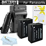 2 Pack Battery And Charger Kit For Panasonic Lumix DMC-FZ1000, DMC-FZ200, DMC-G5, DMC-G6, DMC-GH2, DMC-FZ300K, DMC-GX8, DMC-G7 Digital Camera Includes 2 Replacement DMW-BLC12, DMW-BLC12E, DMW-BLC12PP Batteries + Charger + More