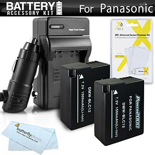 Us Battery Replacement (2 Pack Battery And Charger Kit For Panasonic Lumix DMC-FZ1000, DMC-FZ200, DMC-G5, DMC-G6, DMC-GH2, DMC-FZ300K, DMC-GX8, DMC-G7 Digital Camera Includes 2 Replacement DMW-BLC12, DMW-BLC12E, DMW-BLC12PP Batteries + Charger + More)