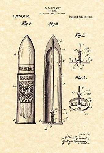 Artillery Shell - Artillery Shell Coin Bank Patent Print - (8.5