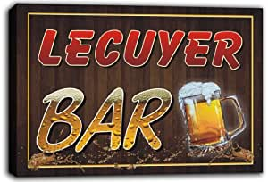 scw3-018173 LECUYER Name Home Bar Beer Mugs Stretched Canvas Print Sign