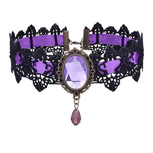 AOCHEE Gothic Black Lace Choker Retro Handmade Punk Rock Necklace for Halloween Weeding Costume Party Prom Vampire Choker (Purple)