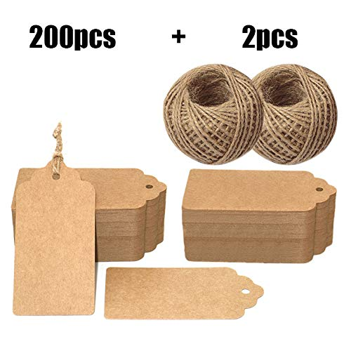 - 200PCS Paper Gift Tags,4'' X 2'' Price Tags with String Craft Tags Bonbonniere Brown Gift Tags with 60M Twine Perfect for Arts and Crafts, Wedding,Valentine's Day, Christmas Day and Holiday