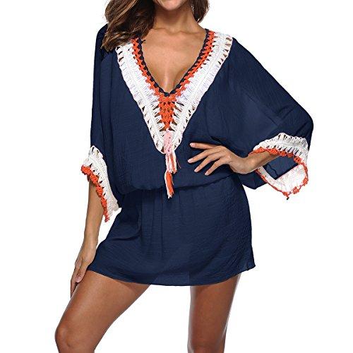 Femmes Boho Robe Manches Courtes Col V Bikini Irrgulire De Plage Mini Robe Blue