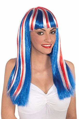 Mememall Fashion American Indepedence Long Patriotic Wig