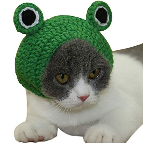 Legendog Cat Costume Hat Pet Hat Cute Frog Knitting Wool Cat Hat for Holiday