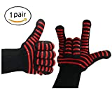 Kealux 932°F Extreme Heat Resistant Oven Gloves, BBQ Grilling Cooking Gloves, Fire Gloves For Fireplace and Fire Pit, Smoker & Kitchen Accessories-1 Pair(Black/Red stripe)