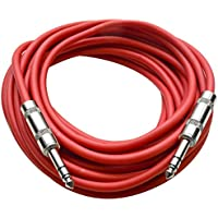 Seismic Audio - SATRX-25Red - 25 Foot Red 1/4 TRS Patch Cable - Balanced Cord - Effects