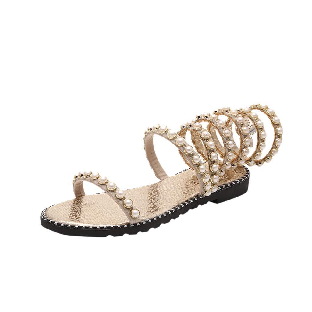 YEZIJIN Casual Shoes Summer Straps Flat Bottom with Open Toe Roman Women's Sandals Platform/Flats/High Heel Sandals Gold