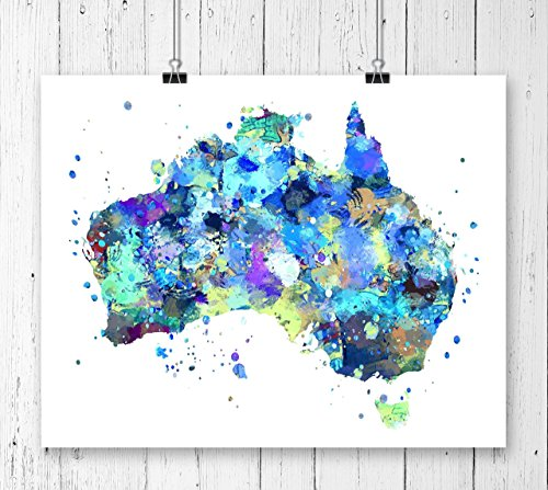 (Australia Map Art Print, Watercolor Art Print, Archival Art Print,Wall Decor,Wall Art, Watercolor Art, Office Decor, Kids Room Decor ( UNFRAMED))