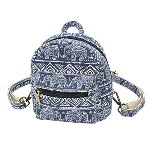 Mini Backpack PurseWomen Elephant Casual Backpack Canvas Small Shoulder Bag Daily Work School Travel