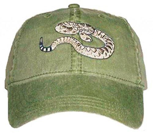 Western Diamondback Rattlesnake Embroidered Cotton Cap Green (Rattlesnake Hat)