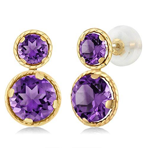 3.50 Ct Round Purple Amethyst 14K Yellow Gold Earrings (Amethyst King)