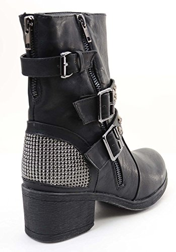 Fourever Funky Women's Studded Buckle Zipper Combat Military Vegan Boots Black ICqB1kGiMD