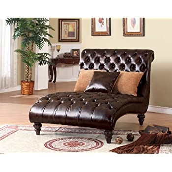 acme 15035 anondale two tone polyurethane chaise lounger with pillow espresso. Black Bedroom Furniture Sets. Home Design Ideas