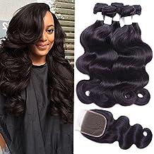 Flady Hair Brazilian Body Wave Human Hair 3 Bundles with Closure 7a Unprocessed Virgin Hair Bundle Deals with Closure Free Part Natural Black Color (16 18 20+14inch free part closure)
