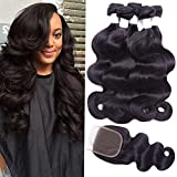 Flady Hair Brazilian Body Wave Hair 3 Bundles with Free Part Closure 7a Unprocessed Virgin Human Hair Bundles with Closure Natural Black Color (20 22 24+18inches free part closure)