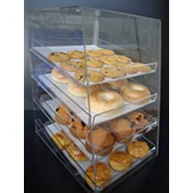 Acrylic Pastry Bakery Donuts Cupcake Display Case with Trays (4 Trays)