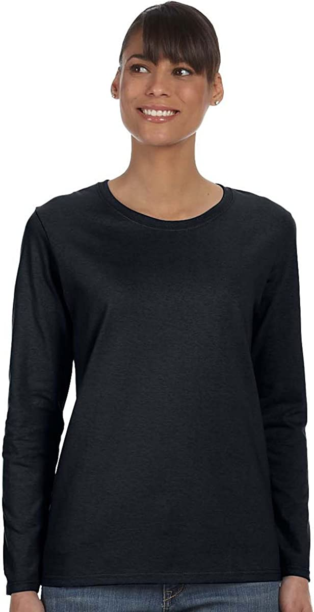 Gildan Women\'s Preshrunk Taped Neck Heavy Rib Knit T-Shirt, Black, Large 51azR0aMbSL