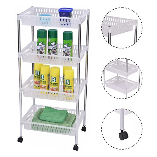4 Layers Portable Trolley Cart Storage Dispaly Baskets Bathroom Kitchen Office