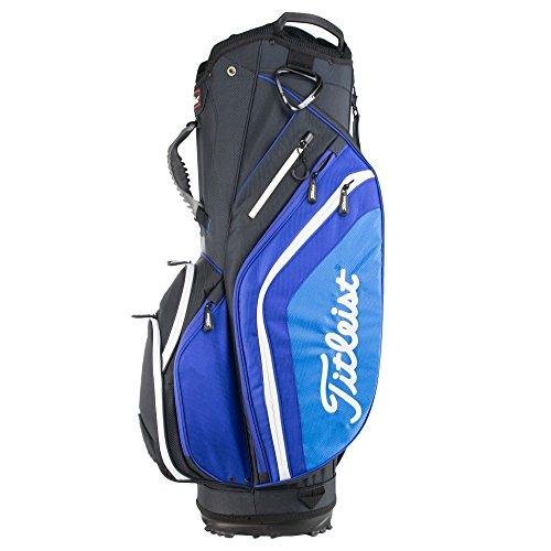- Titleist Lightweight Nylon 14 Way Divided Top 10 Pocket Mens Golf Cart Bag, Blue