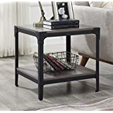 WE Furniture Angle Iron Wood End Tables in Grey Wash - Set of 2