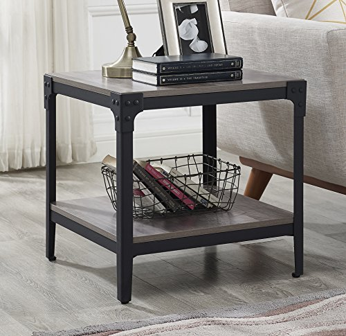 WE Furniture Angle Iron Wood End Tables in Grey Wash - Set of 2 by WE Furniture