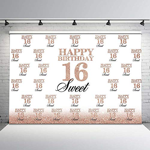 Mocsicka Sweet 16th Birthday Backdrop Rose Gold Step and Repeat 16th Photography Background 7x5ft Happy 16th Birthday Backdrops for Birthday Party Decorations -