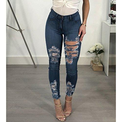 Crayon Vintage Slim Pantalon Prettyia Vintage Trous Jeans Bleu P Pants Collants S Femmes 3XL Hw0qAAv