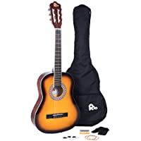 Rio 3/4 Size Sunburst Classical Guitar Pack For Kids Beginners - Suit 9 To 12 Years - Inc Bag, Strap, Picks, Pitch Pipes - New