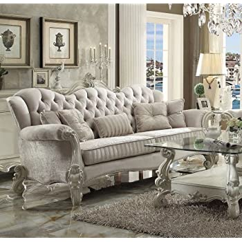 Acme Furniture 52105 Versailles Sofa with 5 Pillows Scrolled Legs Ivory  Velvet Upholstery Crystal Like Button