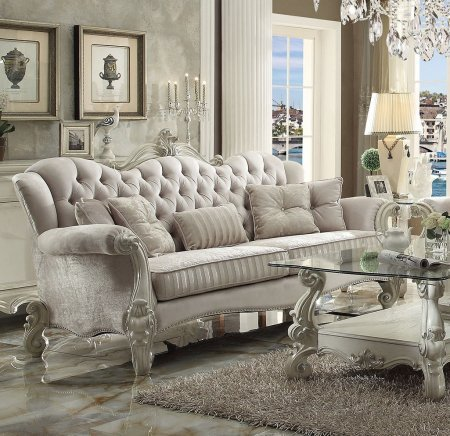 Acme Furniture 52105 Versailles Sofa with 5 Pillows Scrolled Legs Ivory Velvet Upholstery Crystal Like Button Tufted Back and Nail Head Trim in Bone