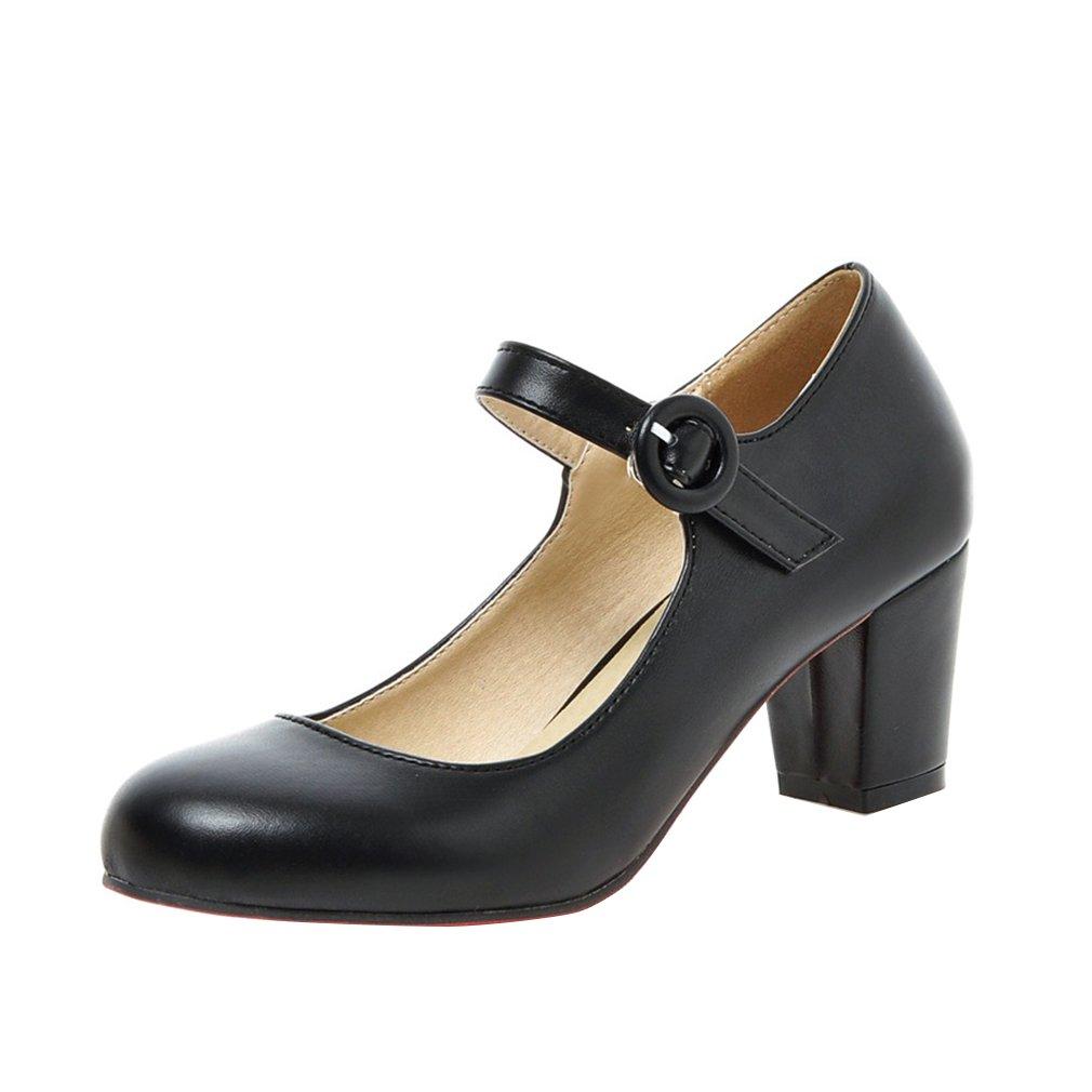 YE Damen Mary Janes Pumps Blockabsatz High Heels mit Riemchen Elegant Schuhe  39 EU|Schwarz