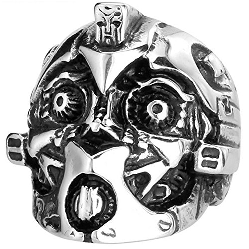 MENSO Jewelry Mens Stainless Steel Vintage Biker Transformer Bumblebee Mask Skull Ring 10