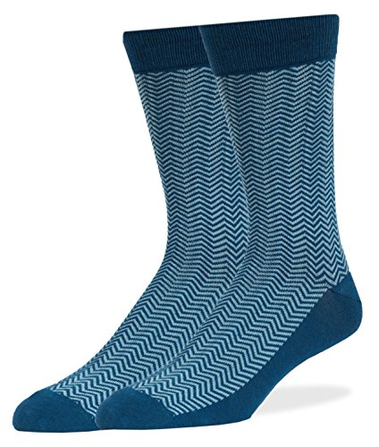 SPREZZA Men's HerringBone Crew Dress Socks, Cotton, Size 9-13, Teal