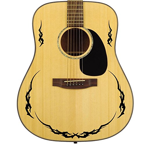 Pro Acoustic Tribal Edging Guitar Decal Sticker Pack. Fits all Guitars. 24 Colour Choices. (Black)