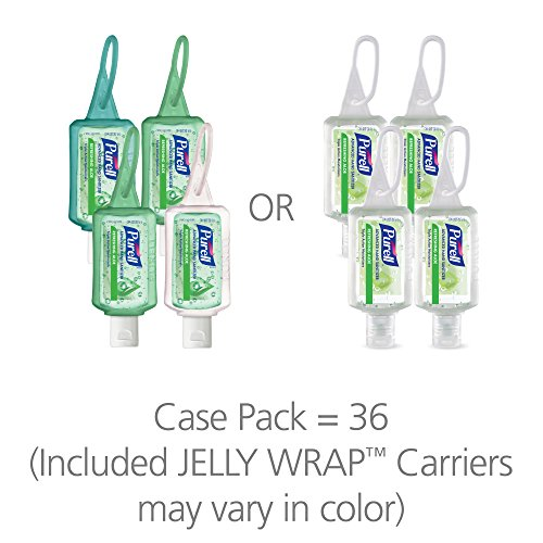 PURELL Advanced Hand Sanitizer Gel, Refreshing Aloe, 36 - 1 fl oz Portable, Travel Sized Flip Cap Bottles with included JELLY WRAP Carriers (Case of 36) – 3903-36-CMR