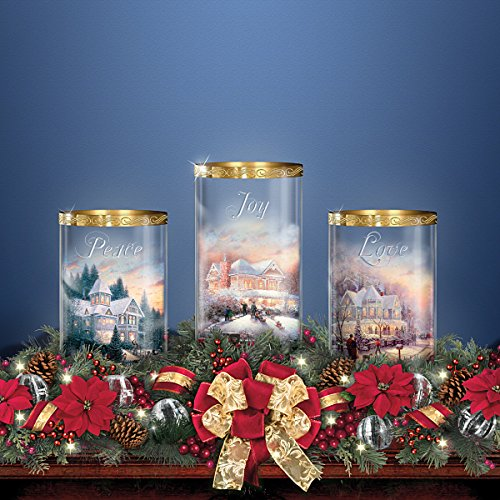 Thomas Kinkade Holiday Artwork Lighted Centerpiece with Flameless Candles by The Bradford Exchange by Bradford Exchange (Image #4)