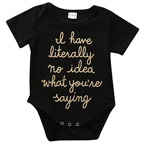 Cute Newborn Baby Golden Shiny Words Print Short Sleeve Summer Romper Bodysuit (0-3M, Black)