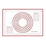 """Crazy Ant Silicone Pastry Mat , No Stick Baking Mat With Measurements 15.7"""" by 23.6"""" Sticks To Countertop For Rolling Dough (Red)"""