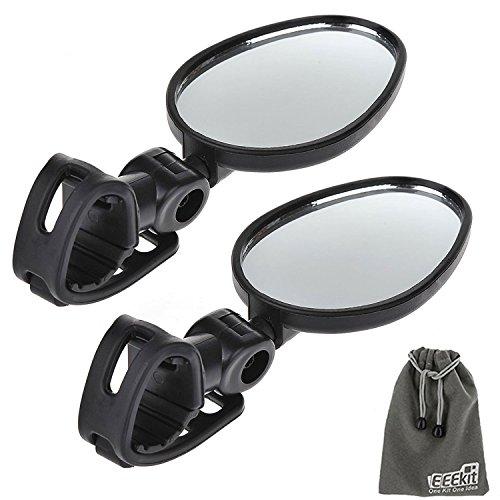 EEEKit 2 Packs Bundle Universal Mini Rotaty Rearview Handlebar Glass Mirror for Mountain Road Bike Cycling (Bike Mirror)