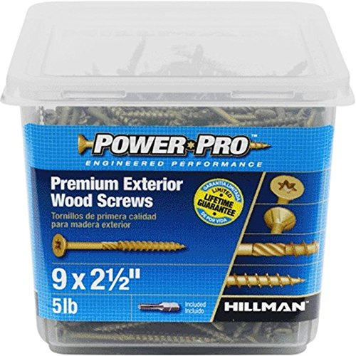 417pcs 1 Epoxy Coated Bronze Power Pro 48611 Premium Outdoor Wood and Deck Screws Rust Resistant for Exterior Use 5lb Tub 9 x 3