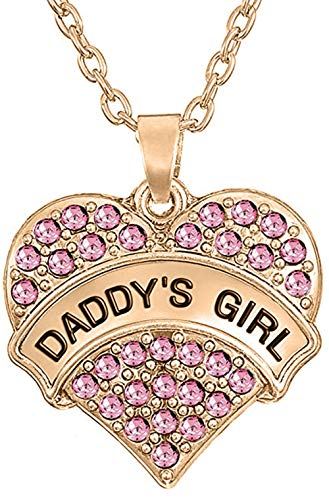(''Daddy's Girl'' Love Heart Pendant Necklace for Girls and Teens (Pink Crystal/Rose Gold Tone))