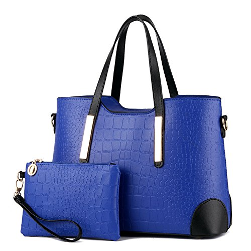 Crocodile Tote Pattern Handbag (Pahajim PU leather women top handle satchel handbags tote purse Crocodile handbag (blue))